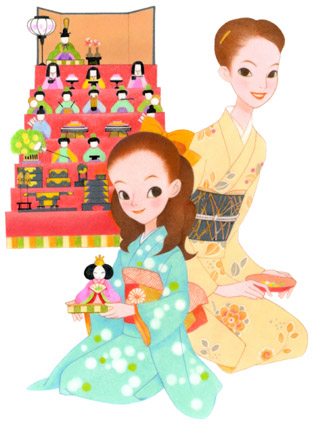 Hina Matsuri is a girls festival in japan. Cute girl illustration