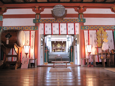 Inside of the Shrine for Omiyamairi, visiting the shrine